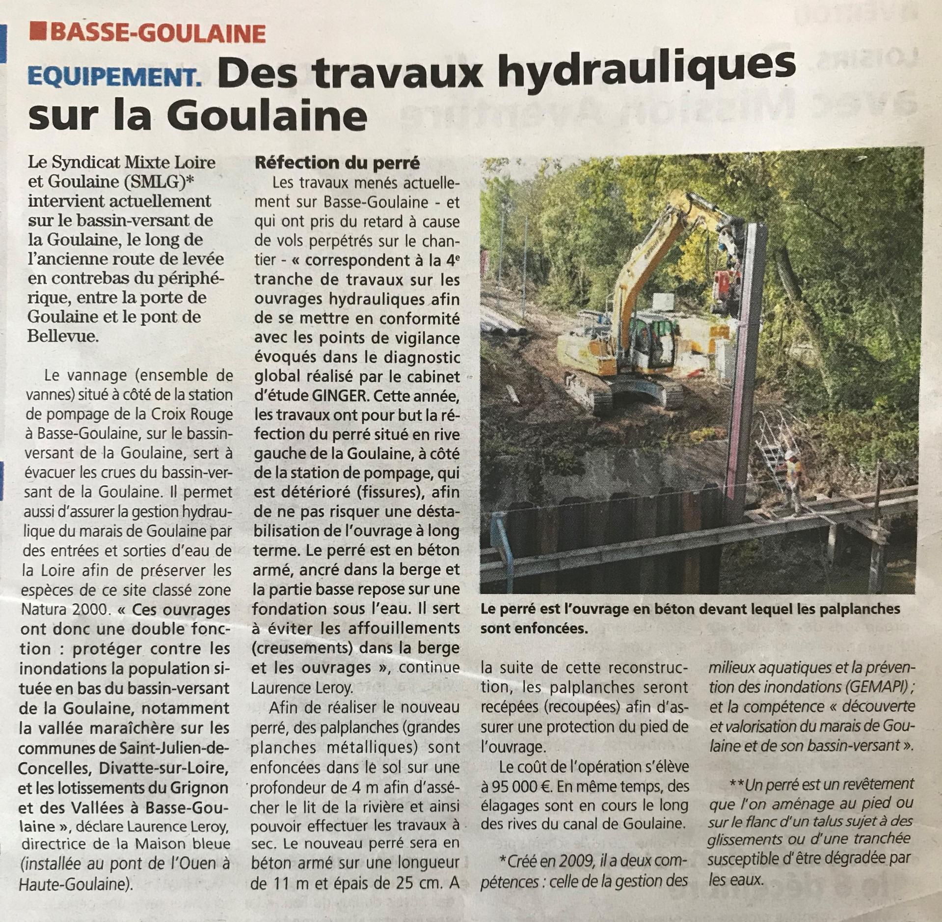2018 11 01 hebdo des travaux hydrauliques sur la goulaine 2